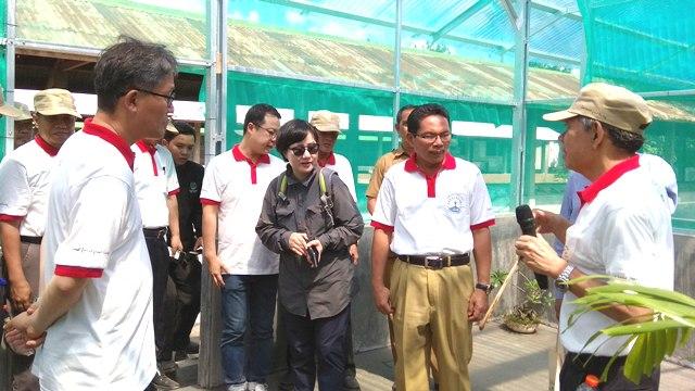 Senior Advisor Forest For Life Indonesia Agus Pakpahan memberi penjelasan tentang rearing house kepada Sekda NTB Roshadi Sayudi dan Menteri Kehutanan Republik Korea Kim Jae Hyun